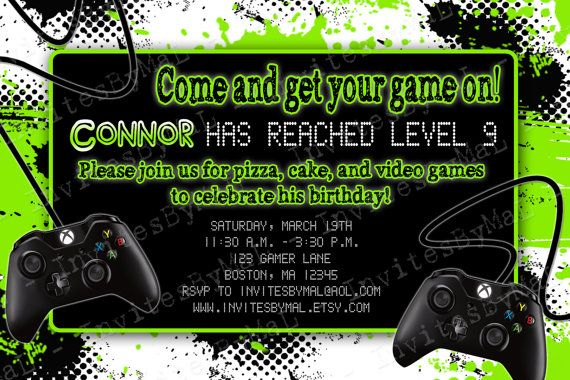 Video Game Party Birthday Party Invitation With Or Without Child S Pic Video Game Party Invitation Party Invite Template Xbox Party