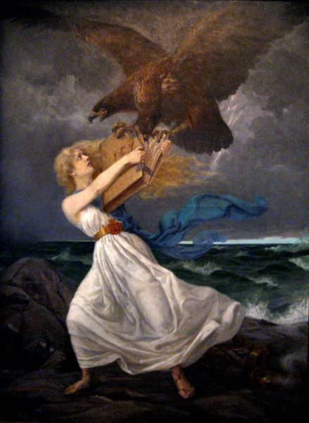 Maiden of Finland and Lex (Law) attacked by the two headed eagle, the symbol of tzar's Russia. Painted during the time called sortovuodet/sortokaudet, times/years of oppression, aggressive russification period. Eetu Isto Hyökkäys 1899