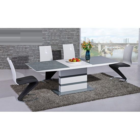 Arctic Extendable Dining Table In Grey Glass And 6 Leona Z Chair With Images Grey Dining Tables High Gloss Dining Room White Gloss Dining Table
