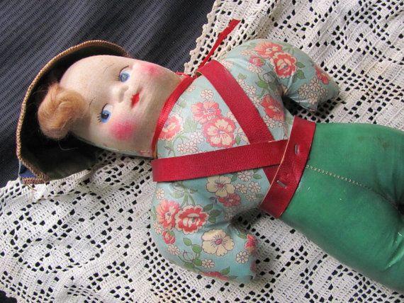 Antique or Vintage Handmade Fabric Folk Art Doll
