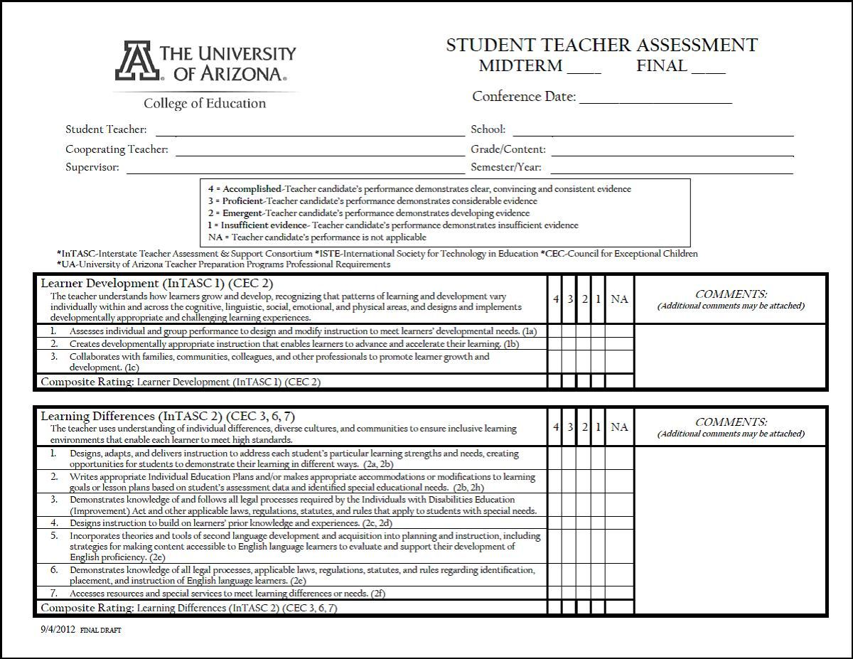 Student Teacher Evaluation Form  College Of Education  Diana