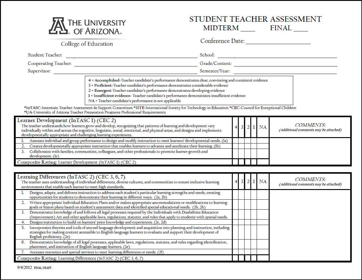 Student Teacher Evaluation Form College Of Education Teacher