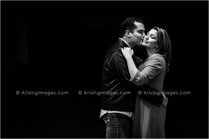 Beautiful black and white engagement pic. Love the pose. #arisingimages #engagement #photography #couple #kiss