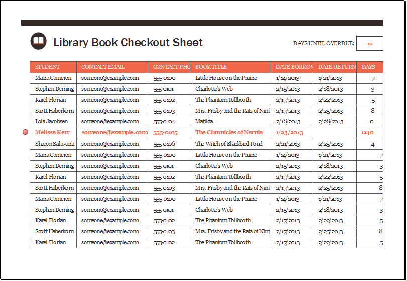 Library Book Checkout Sheet Download At HttpWwwXltemplatesOrg