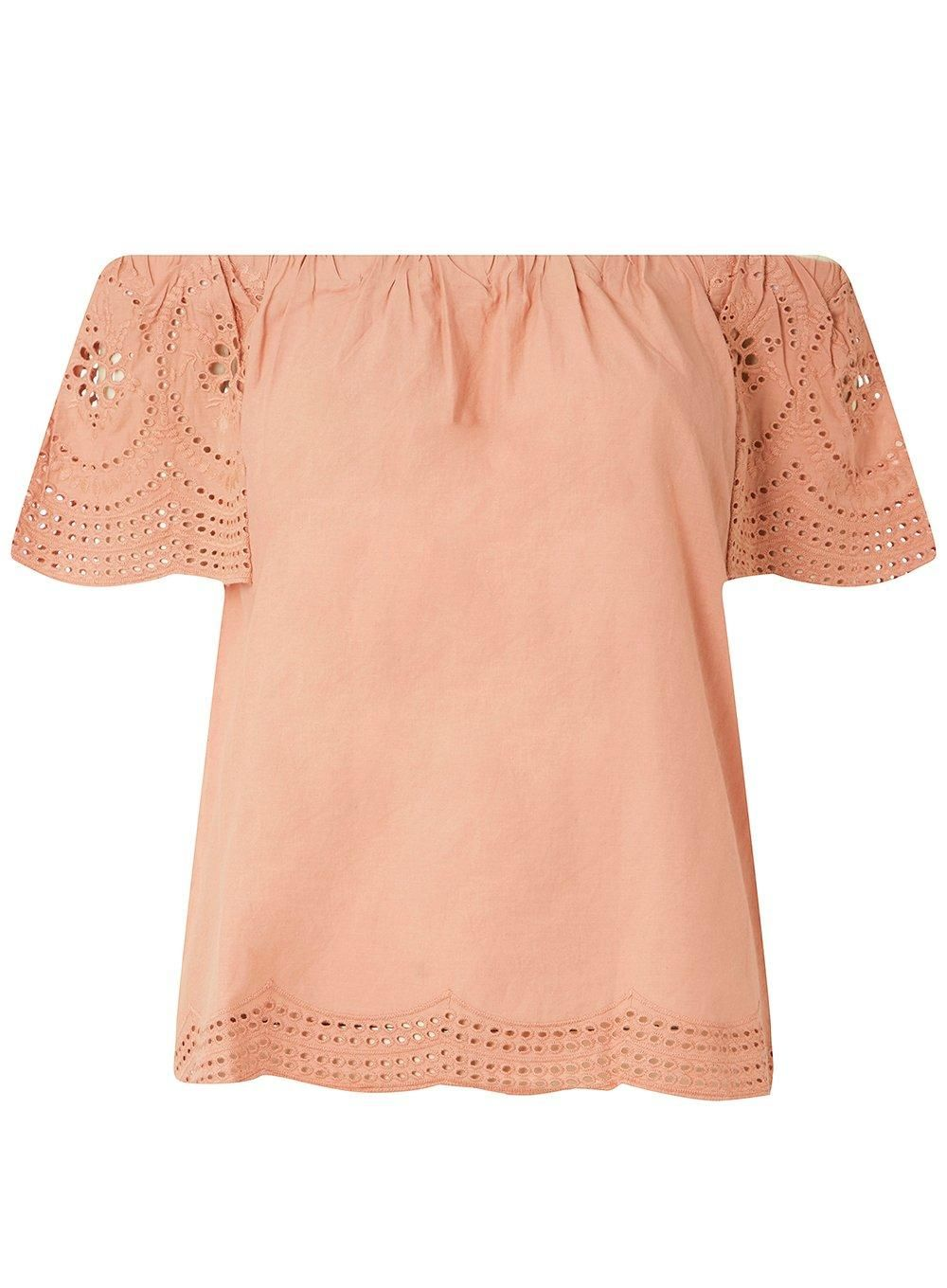 902d63d32a0e5 Pink Broderie Sleeve Bardot Top - New In Clothing - New In - Dorothy  Perkins United States