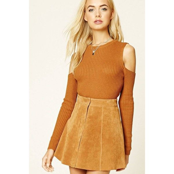 LOVE21 Ribbed Knit Open Shoulder Top ($20) ❤ liked on Polyvore featuring tops, sweaters, long sleeve sweater, cut-out shoulder sweaters, cold shoulder sweater, ribbed knit sweater and cut out shoulder sweater