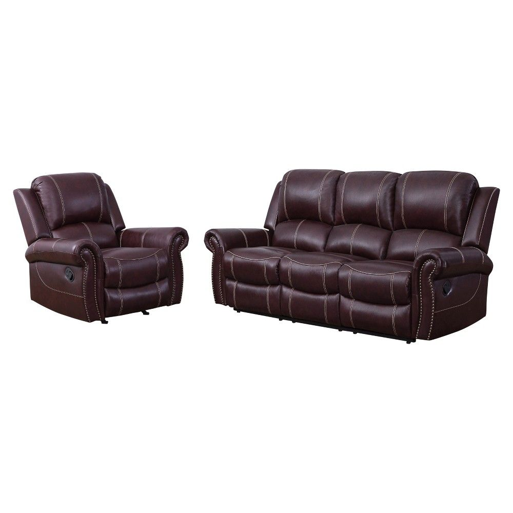 Surprising 2Pc Lorenzo Top Grain Leather Reclining Sofa Recliner Set Lamtechconsult Wood Chair Design Ideas Lamtechconsultcom
