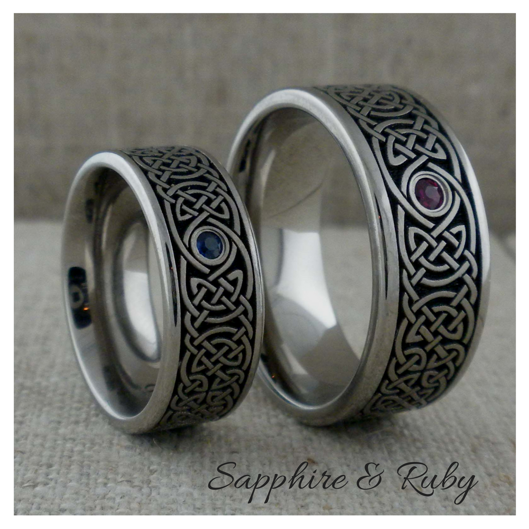 Custom Celtic Knot Wedding Rings with sapphire or ruby Love these