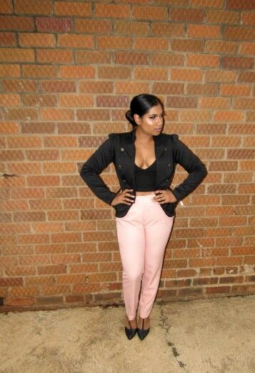 36ee498142 Pink High-waisted Zara Pants Black Zara Crop Top Mr Price Black Military  Blazer and Black Heels. Find this Pin and more on Curvy Nerdy Diva ...