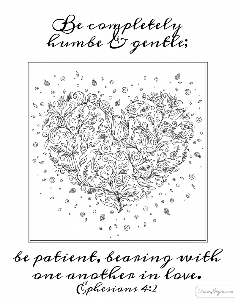Be humble gentle coloring page ephesians 42