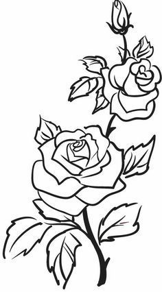 Roses Flowers Vine Leaves Bud Open Clip Art Black And White Flower Outline Rose Outline Rose Outline Tattoo