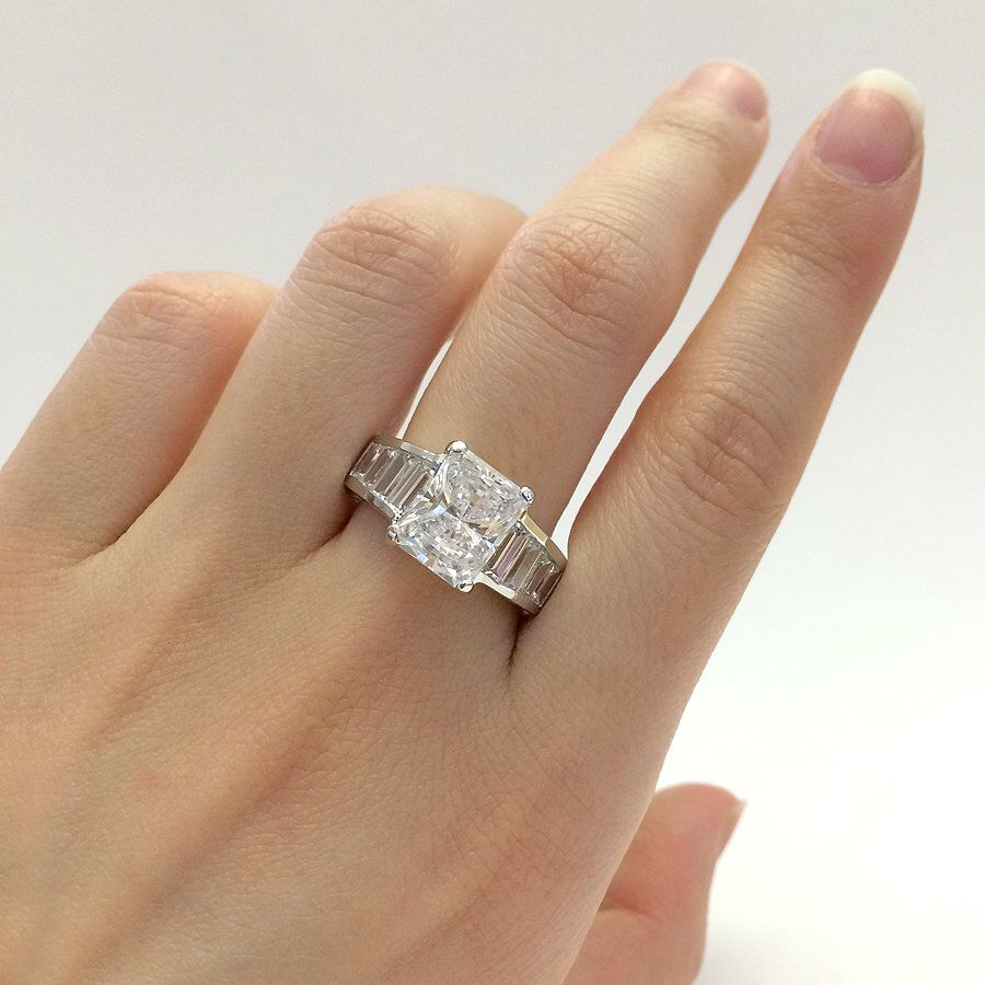 ring diamond low engagement flawless profile solitaire rings carat cut round pin simulant