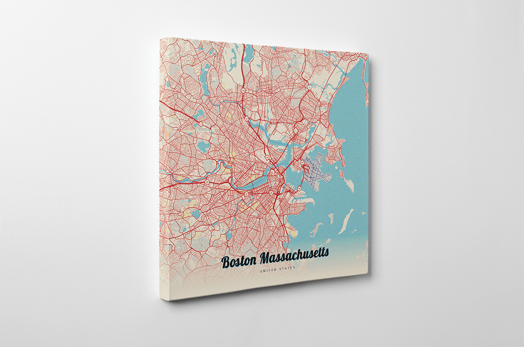 Gallery Wrapped Map Canvas of Boston Massachusetts