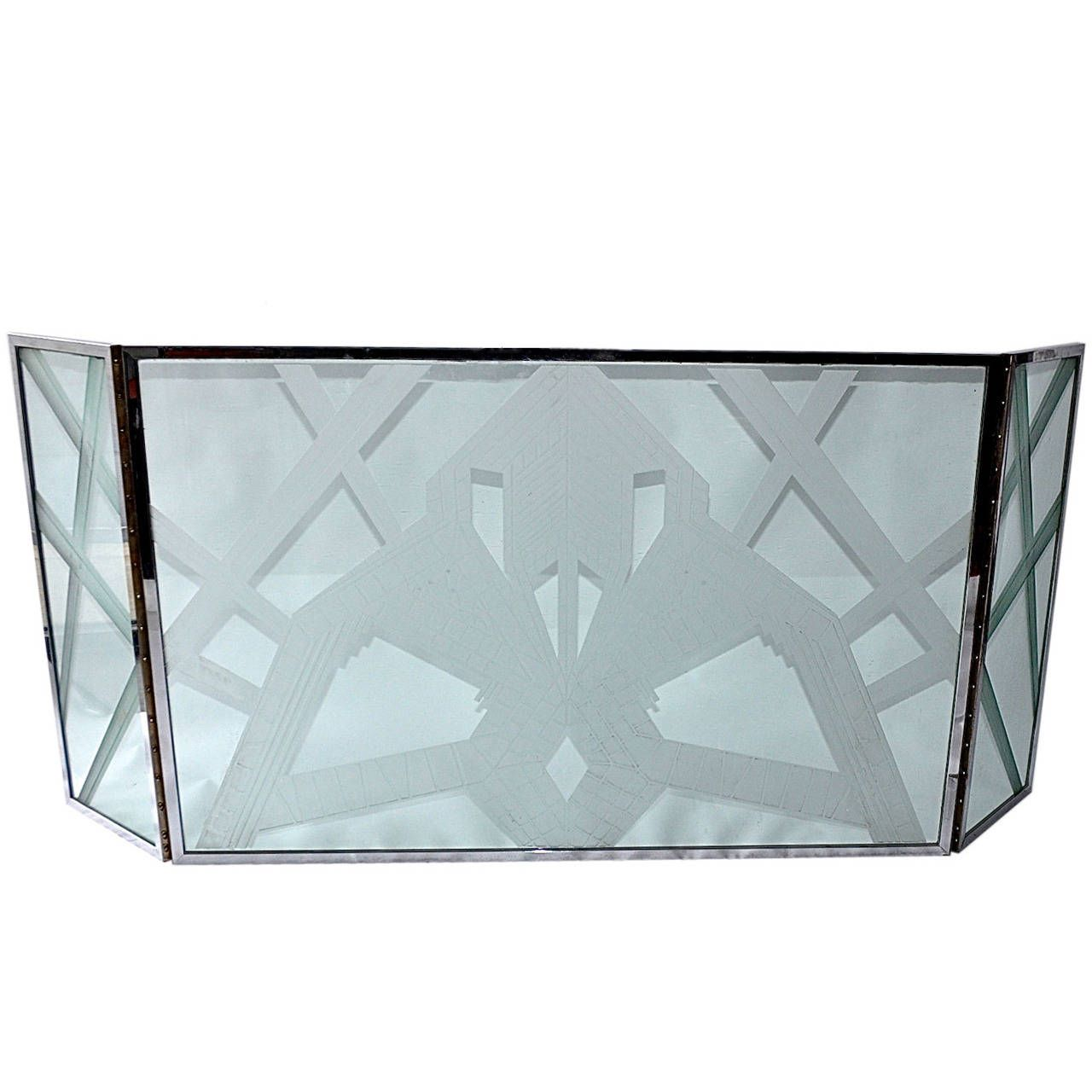 art deco etched glass fire screen more fireplace tools modern