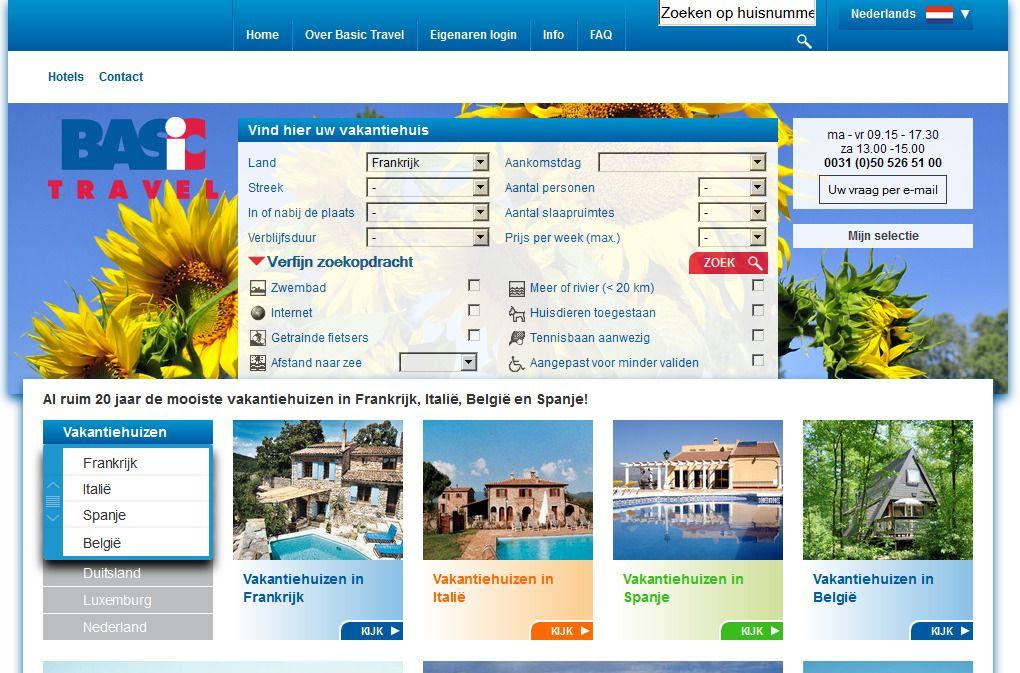 50 euro korting bij het boekenv van een vakantiehuis bij Basic Travel