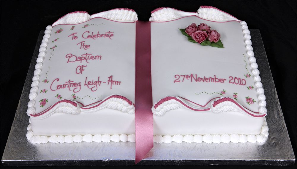 Pin Cake 3598 Girls Book Shaped Baptism Standard Design On