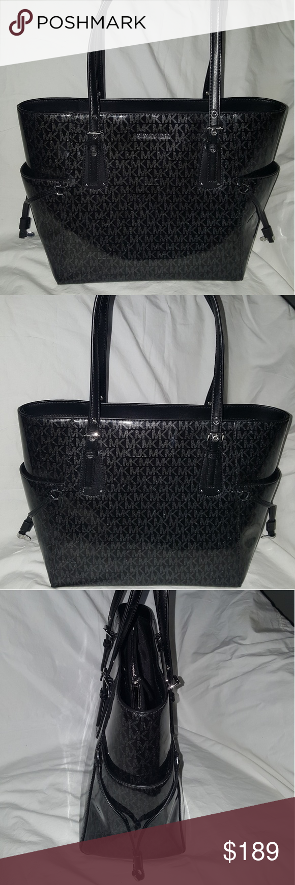 3174c371d6e2 Michael Kors Signature Black Glossy Voyager Tote This is a Store Display  Brand New With Tags
