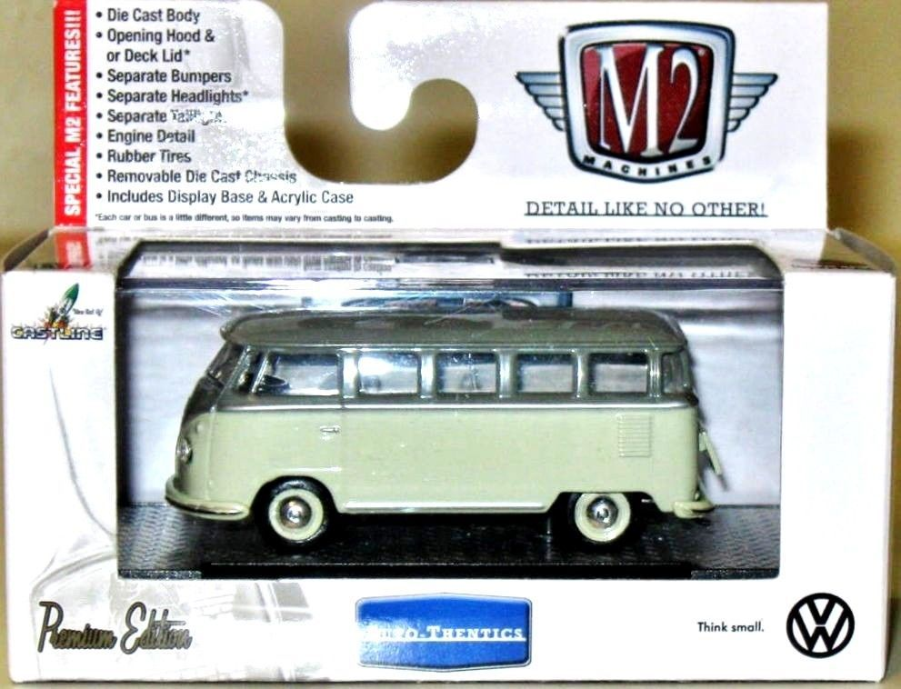b1b25fcbb2 1958 VW Micro Bus 15 Window USA Model M2 Machines AUTO-THENTICS 1 64 Scale  Olive  M2MachinesCastline  Volkswagen