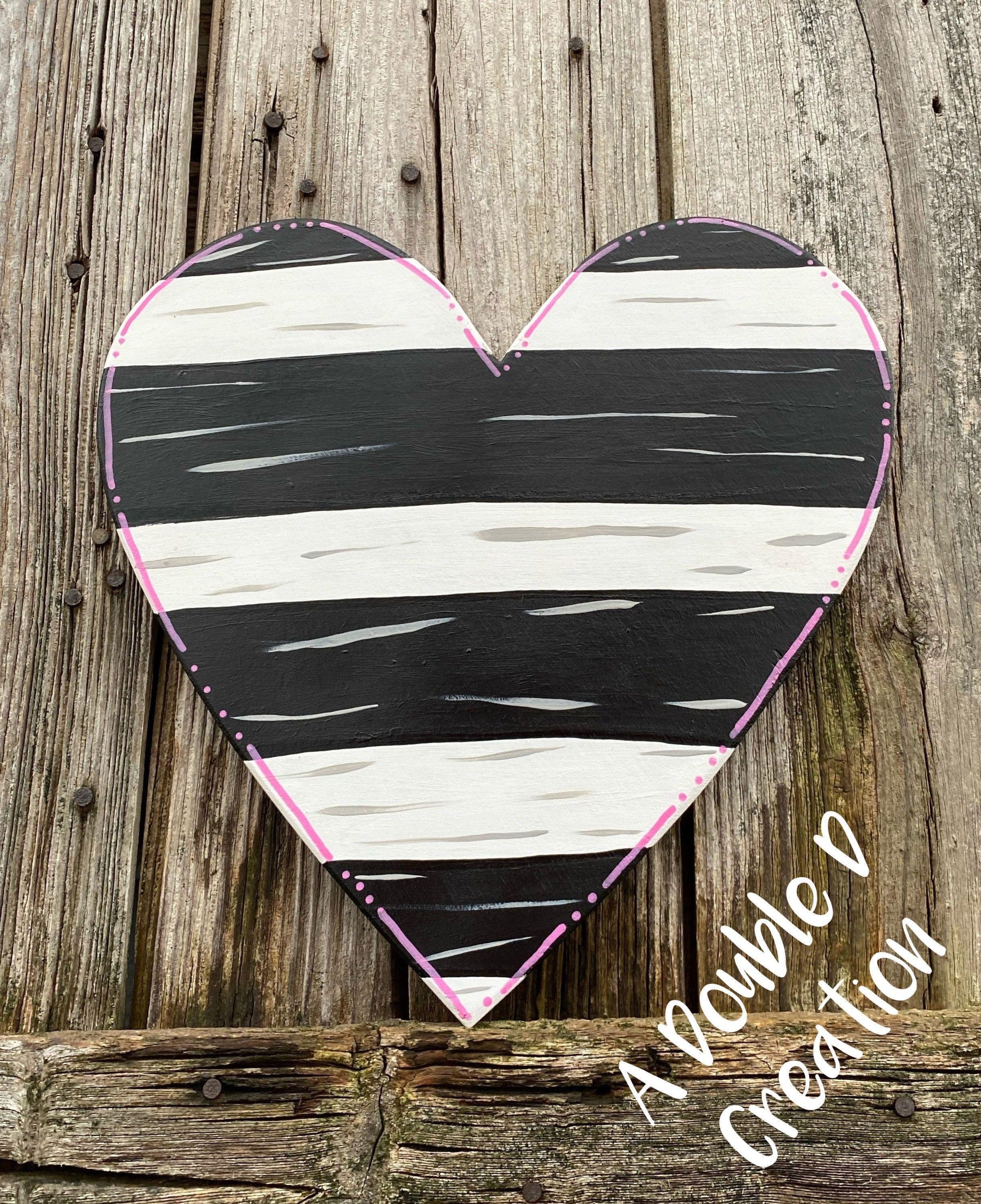 Heart Sign Wooden Heart Door Hanger Valentine S Day Decor Valentine S Day Heart Heart Wreath Attachment Heart Decor Heart Door Hanger In 2020 Heart Decorations Wooden Hearts Valentines Sign