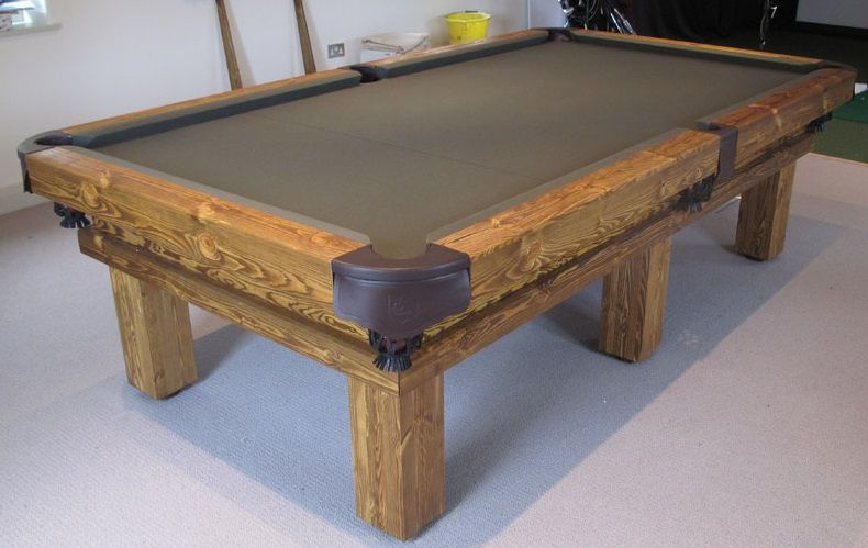 9 Rustic Pool Table In Soft Wood Colour 6 With A Olive Green