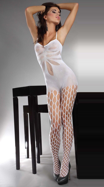 d8fa80b1334 Brunette Girl wearing White Fishnet Bodystockings and Black High Heels