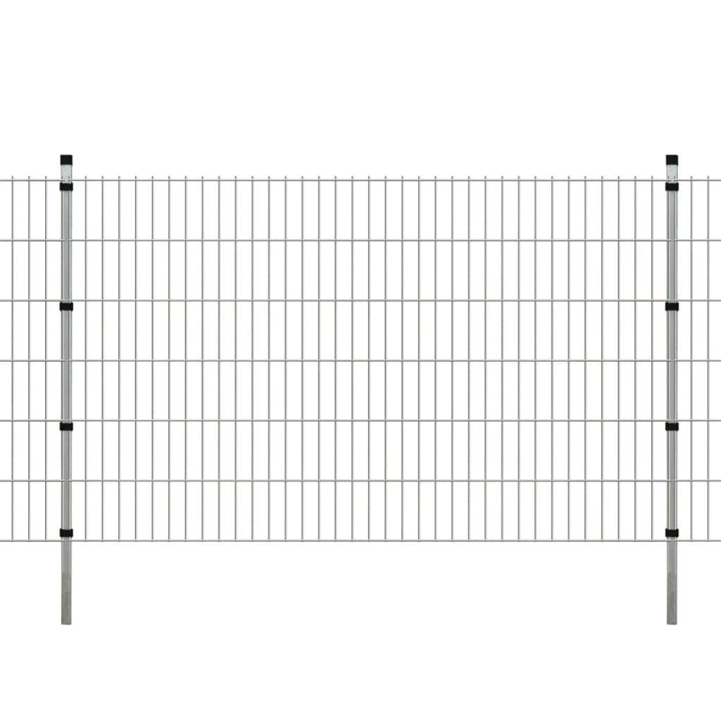 vidaXL 2D paneler og pæle til havehegn, 2.008x1.230 mm, 8 m, sølvgrå
