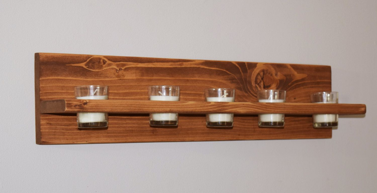Wooden candle shelf votive candle holder wall sconce for Wooden nickel cabins