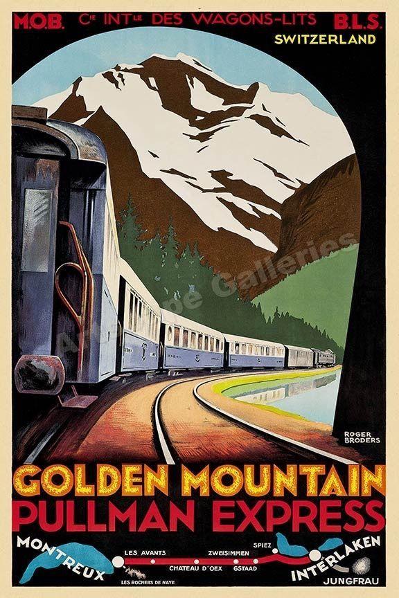 Vintage Pullman Rail Advertising Poster reproduction. Summer Resort