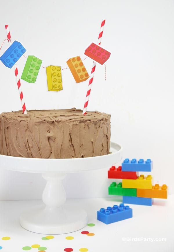 Swell Easy Diy Lego Inspired Birthday Cake Bunting With Images Lego Funny Birthday Cards Online Alyptdamsfinfo