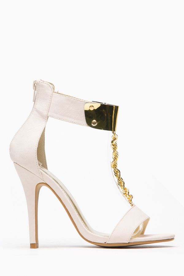 3f5949dbb77 Liliana Open Toe Twisted Metallic Chain T Strap Heel @ Cicihot Heel ...
