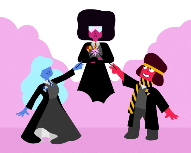If the Crystal Gems attended Hogwarts, Ruby would be in Hufflepuff, Sapphire in Ravenclaw, and Garnet in Gryffindor.