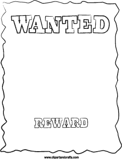 Wanted Poster Line Art Printable Template Template Printable Writing Lines Colouring Art Therapy