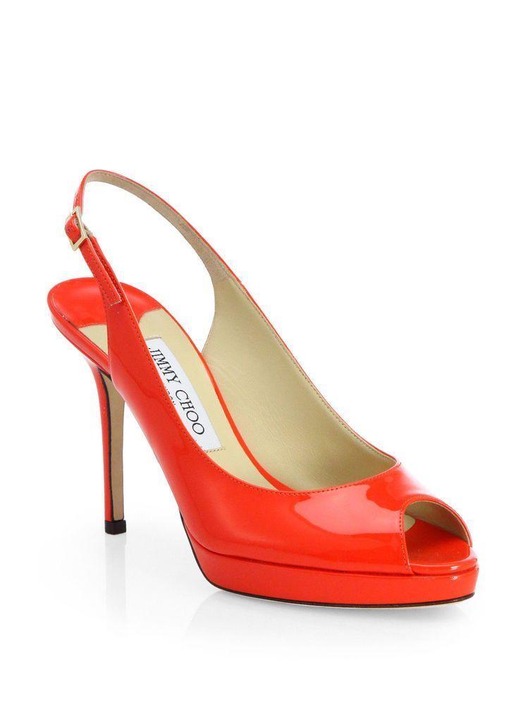 525637a647a JIMMY CHOO NOVA Patent Leather Open Toe Slingback Platform PUMPS RED Size 8  38  Platformpumps