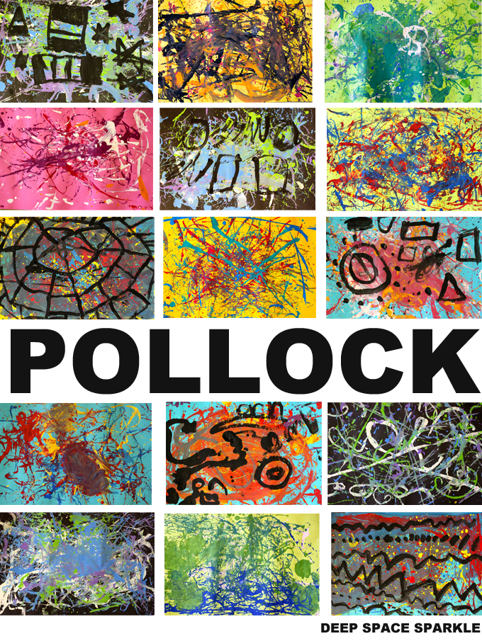 Paint like pollock art project for grades k 2 kids for Mural jackson pollock