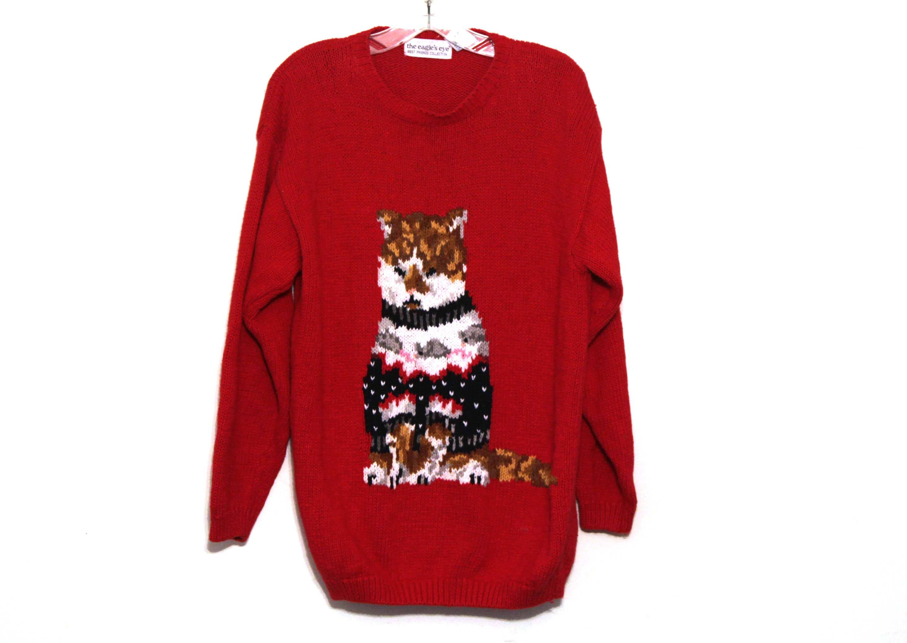 Christmas Cat Sweater.Vintage 80s Cat Sweater Ugly Christmas Cat Lady By
