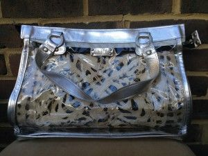 Nahui Ollin large silver coloured leather and clear beach bag ...