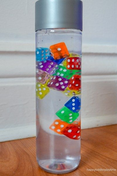 Rainbow Dice Sensory Bottle #sensorybottles