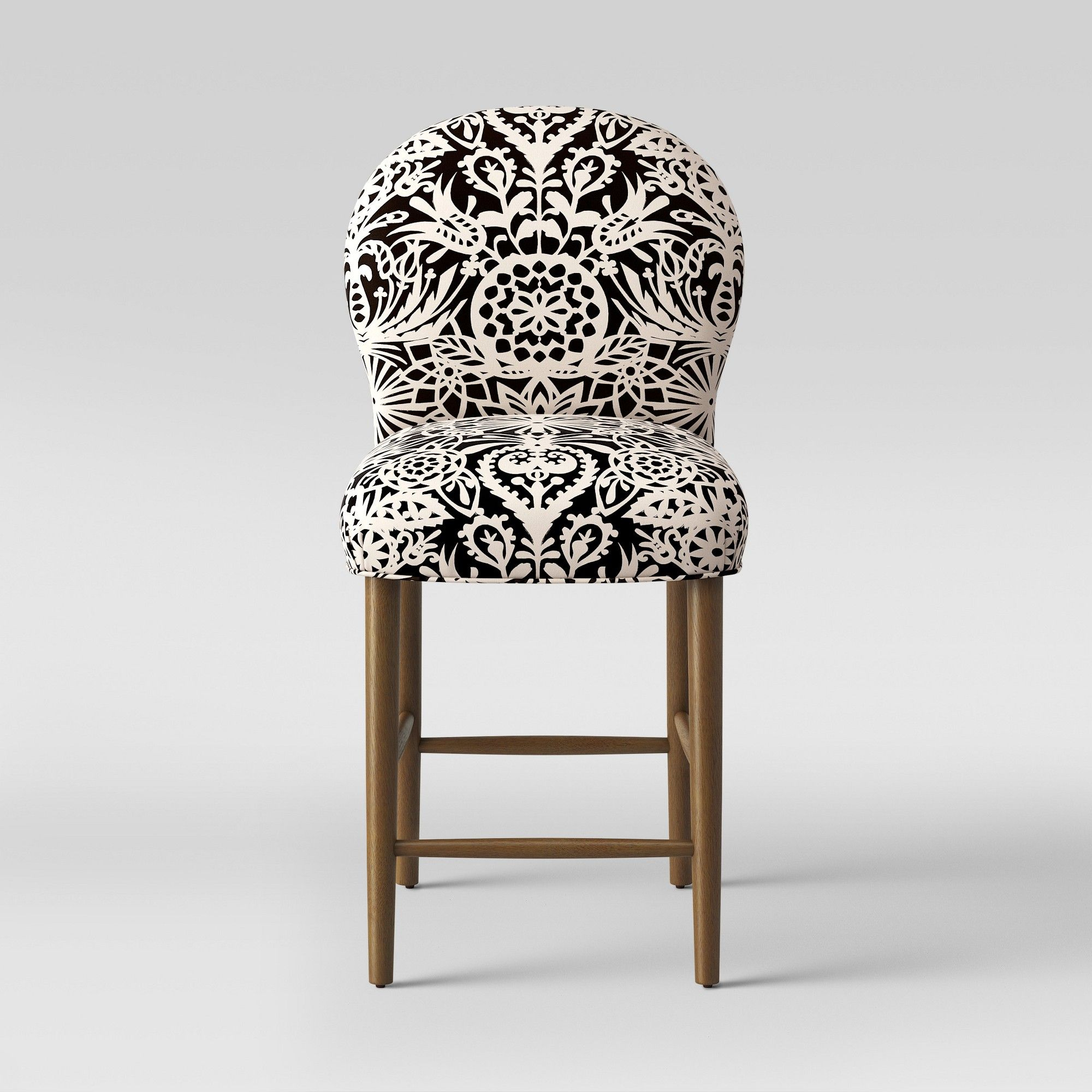 Astonishing 27 Caracara Rounded Back Counter Stool Black White Floral Machost Co Dining Chair Design Ideas Machostcouk