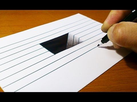 Very Easy!! How To Draw 3D Hole for Kids - Anamorphic Illusion - 3D Trick Art on Line paper - YouTube