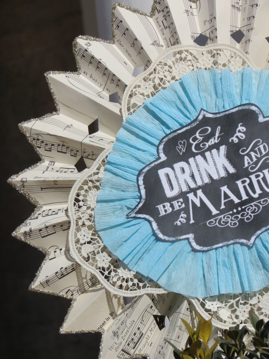 Paper wedding decoration ideas  Vintage Handmade Paper Rosette Wedding Decor by BlissfulBanners