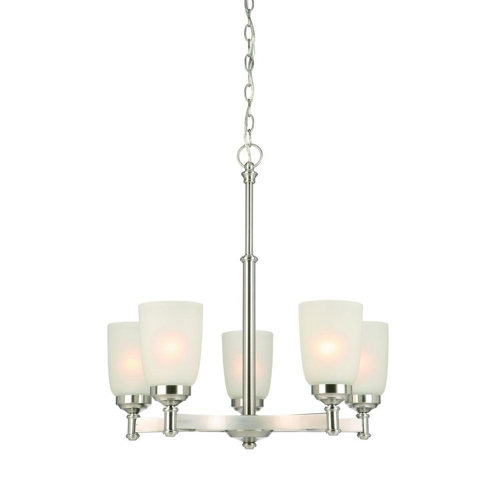 Hampton Bay 5 Light Brushed Nickel Chandelier With Frosted Glass Shades Iut8115a 3 The Home Depot Brushed Nickel Chandelier Glass Shades Chandelier