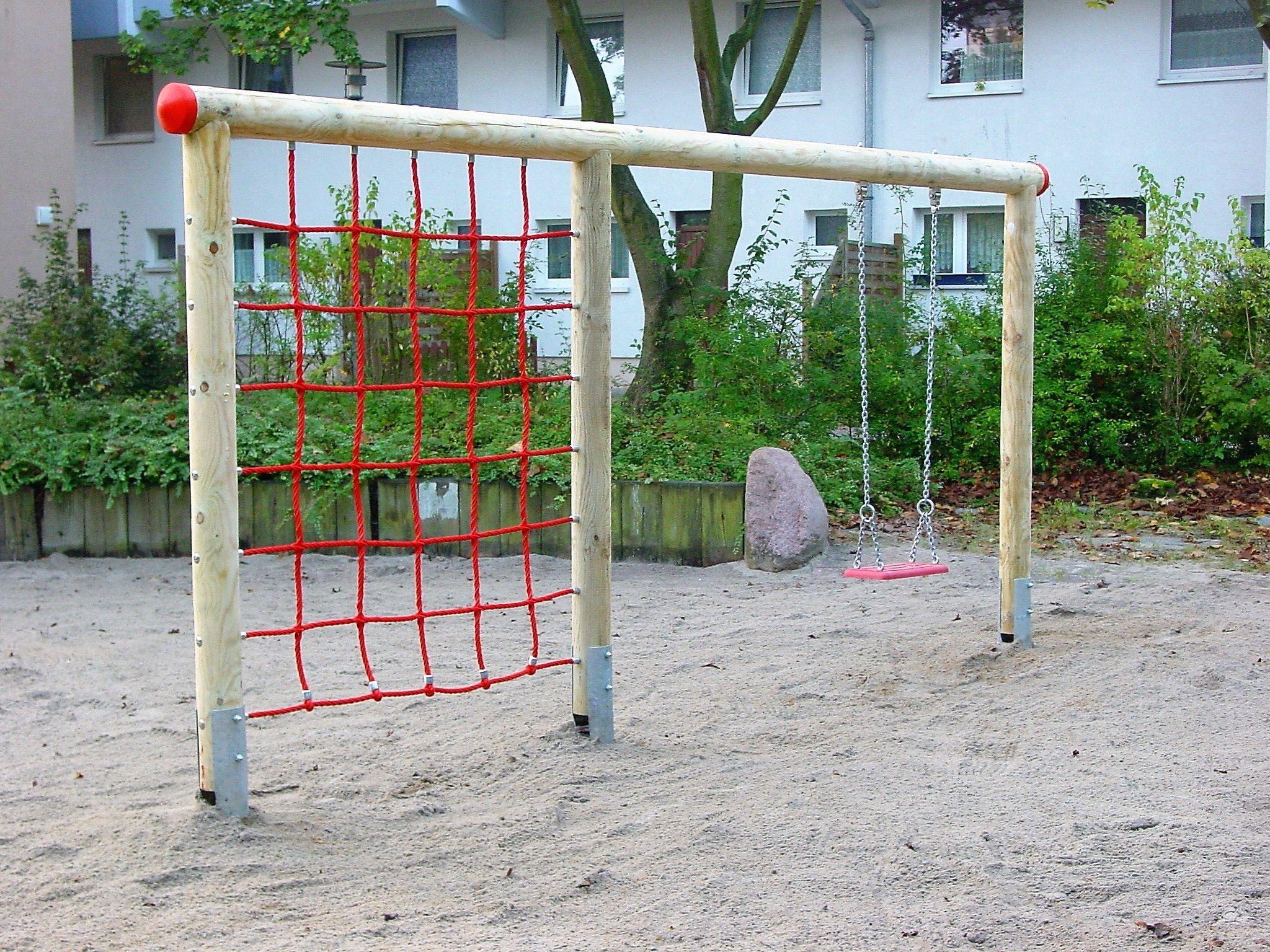 Holz-Schaukel mit Klettergerüst EN 1176 Spielgerät TÜV/GS ...