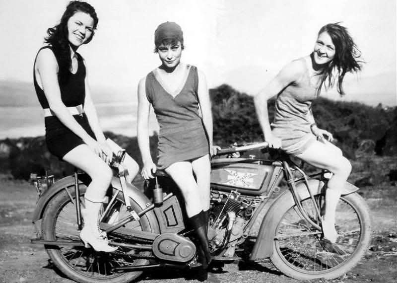 motorcycles Vintage girls on