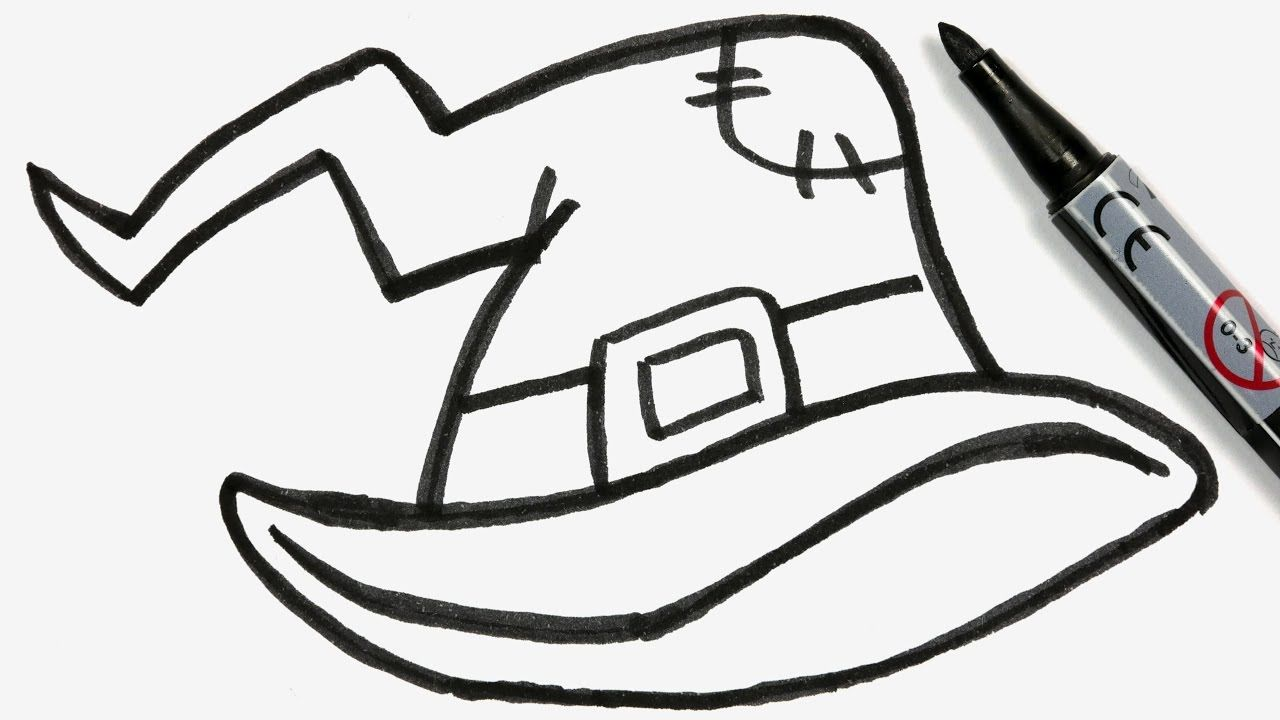 How To Draw A Cartoon Halloween Witch Hat Easy Doodle For Girls Boys Witch Drawing Easy Halloween Drawings Halloween Drawings