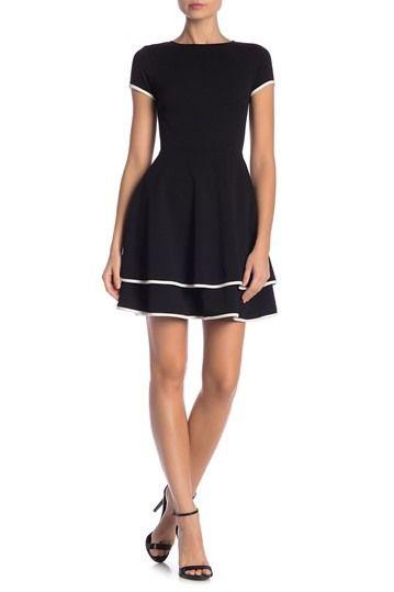 f73737c512d6 Love...Ady | Contrast Trim Cap Sleeve Fit & Flare Dress | Austin ...