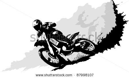 Dirt Bike Rider Cartoon Biker Clip Art Vector Silhouette Of A