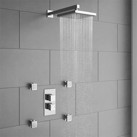 Milan Concealed Thermostatic Valve With Diverter Fixed Shower
