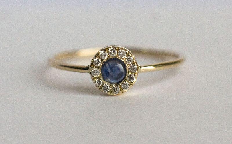 Pierścionek Zaręczynowy Z Szafirem I Diamentami Arpelc