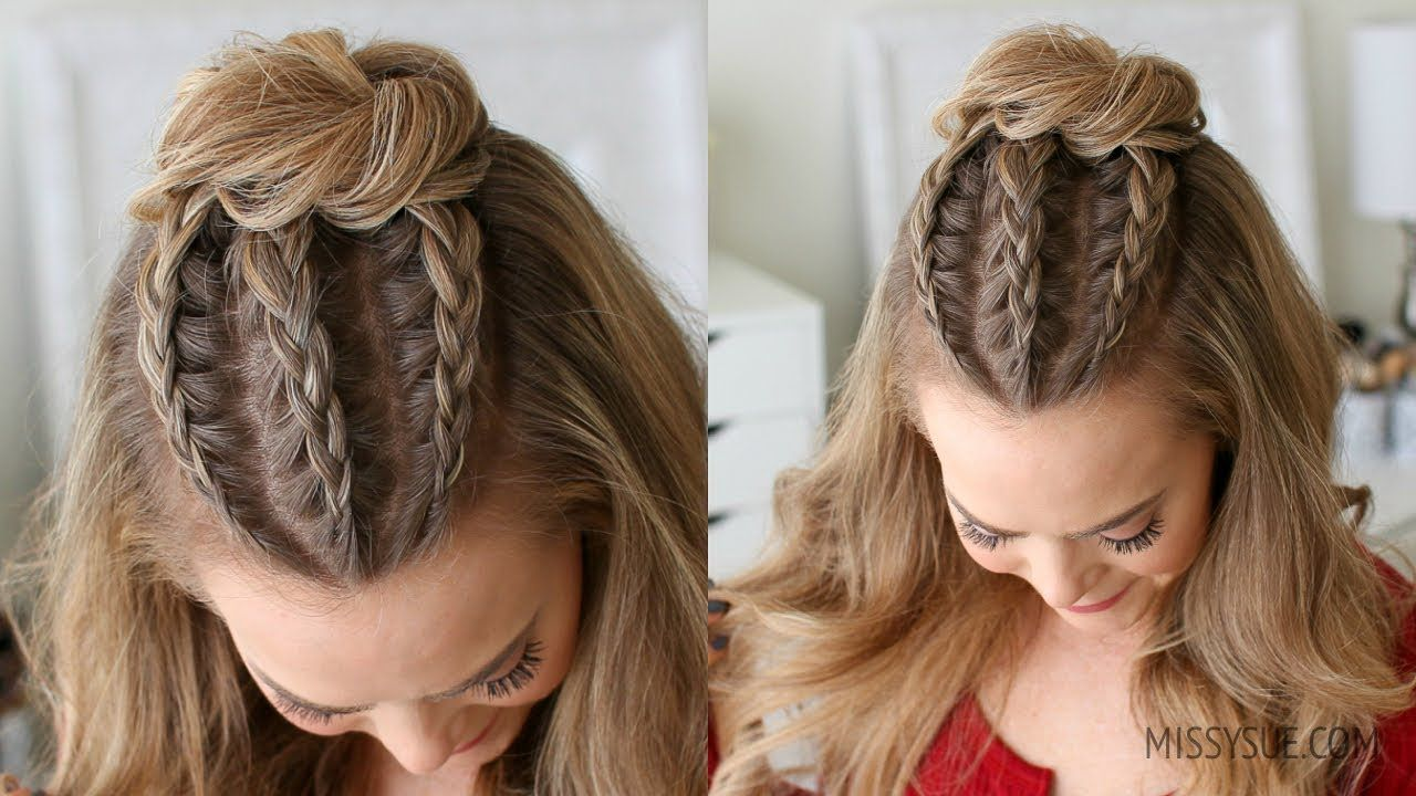Half Up Triple Braid Mini Bun Missy Sue Youtube Hair Styles Braid Half Up Half Down Braided Bun Hairstyles
