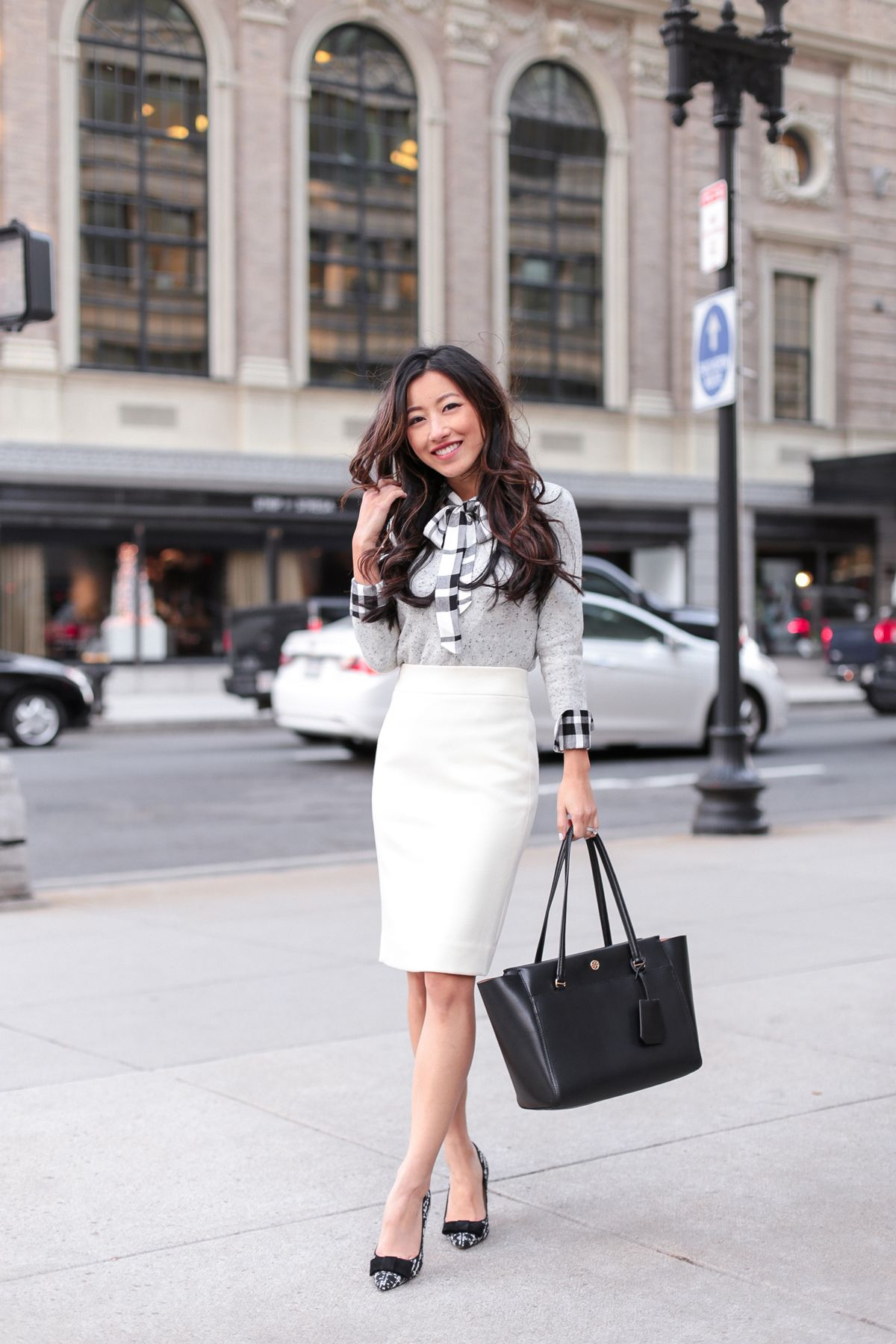 Business casual bow plaid flannel winter white skirt plaid